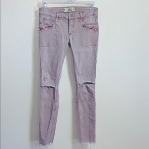 Hollister   Pink Denim Skinny Distressed Jean Pant